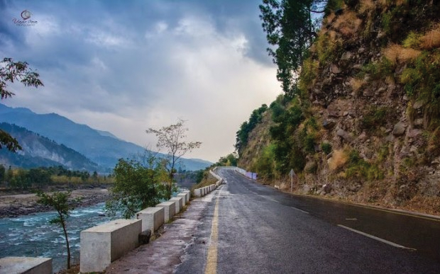 Naran Road adjacent to an attractive view of the Kunhar River