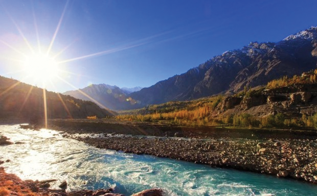 Sun is shining with full glory on Hunza  River