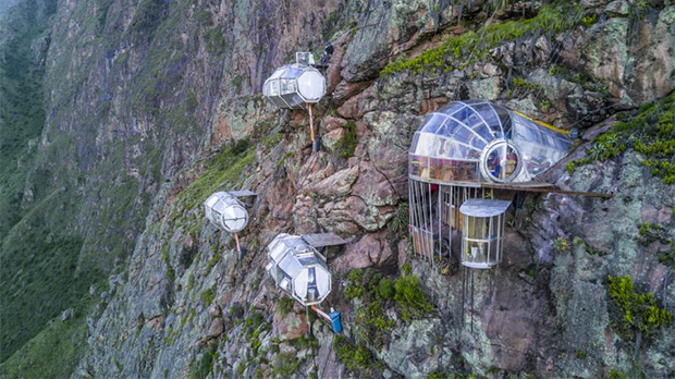 Capsules suspended in the air at high altitudes